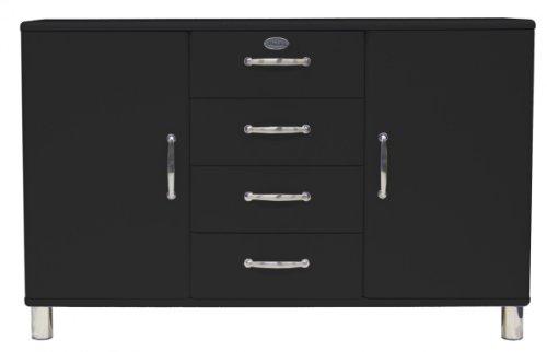 Sideboard Tenzo Malibu 146 cm mit 4 Schubladen & 2 Türen MDF Farbe wählbar Matt, Farbe:Schwarz