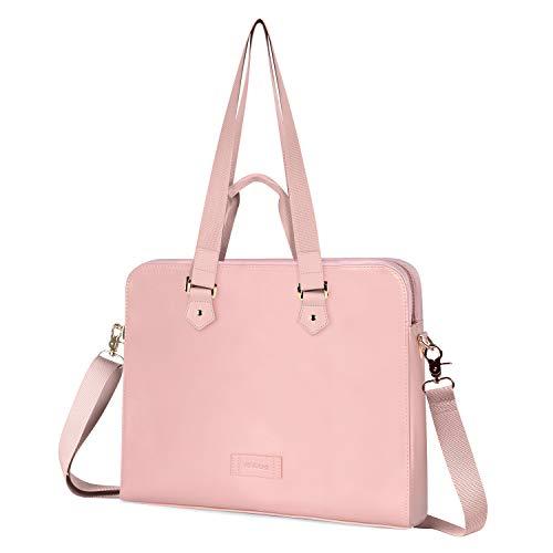 Kamlui 15.6 Inch Laptop Bag - for Women PU Waterproof Fashion Shoulder Messenger Computer Laptop Case (Pink)