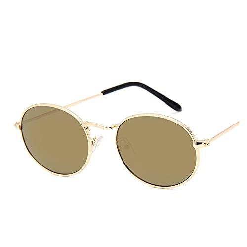 Gafas de sol de aleación retro para mujer, de metal, redondas, para mujer, estilo vintage, ovalado, para hombre, diseño de lujo, lentes de sol, color dorado y rosa