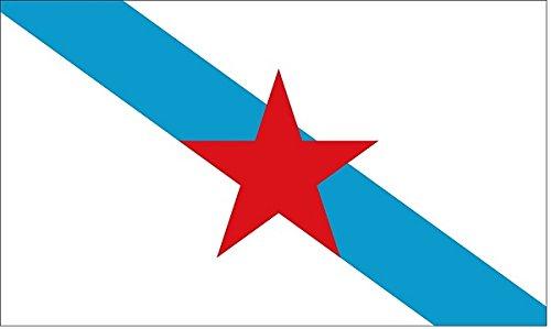 Grand Bandera de Galicia Con Estrella-Estreleira- independentista de Galicia -Gallego 150*90 cm Satén Durabol .