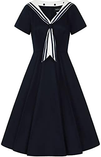 Collectif Damen Kleid Nene Sailor Matrosen Retro Swing Dress Blau L