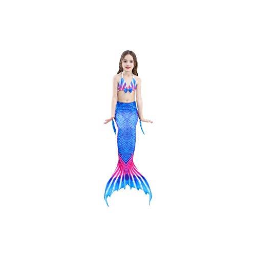 Swimwear 3 PCS/Sets Enfants Maillots de bain Queue de sirène Bikini Cosplay sirène, Taille: 110 (bleu + Magenta)