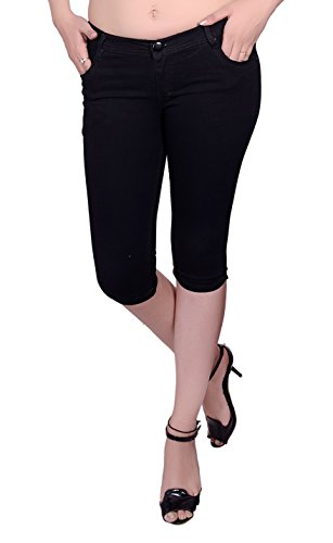 NIFTY Women's Denim Stretchable Slim Fit Capris (CPRI_PLN_BLK_28_Black_28)