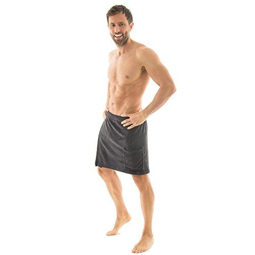 Celinatex Sauna Kilt voor heren met klittenbandsluiting en tas Koraal Fleece Lichtgewicht Wrap Malaga, Zacht, Pluizig Zeer Comfortabel om Sauna Handdoek te dragen