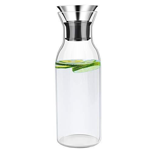 Jarra de vidrio de borosilicato de 1,5L, jarra sin goteo con tapa de sello de silicona de acero inoxidable, apta para estufa, jarra de agua de vidrio para nevera, jarra para jugo