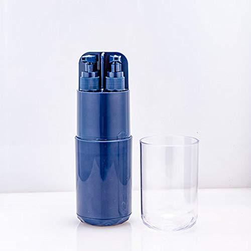 Multifunctionele 8-in-1 dagelijkse wasset Opbergcontainerhouder met 1 spoelbekers en 2 hervulbare gel-dispensers voor reizen en 1 spiegel, gezinsvakantie en buitengebruik