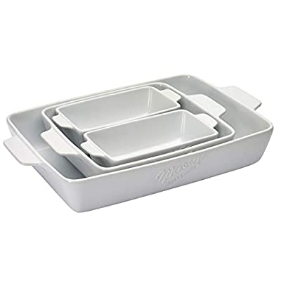 Mason Craft & More Ceramic Bakeware Collection- Rectangular, Square, Casserole, Lasagna, Baking, Roasting- 4 Piece White Ceramic Bakeware Set