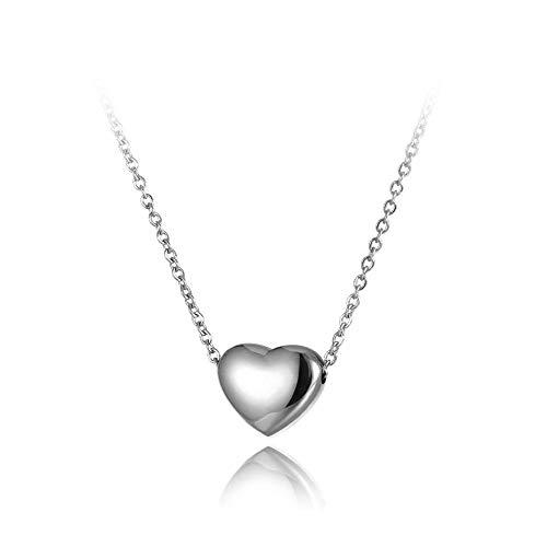 TTbaoz Collar clásico de Titanio para Mujer, Acero Inoxidable, corazón de Amor, Cadena de Oro Rosa, Boda, Plata