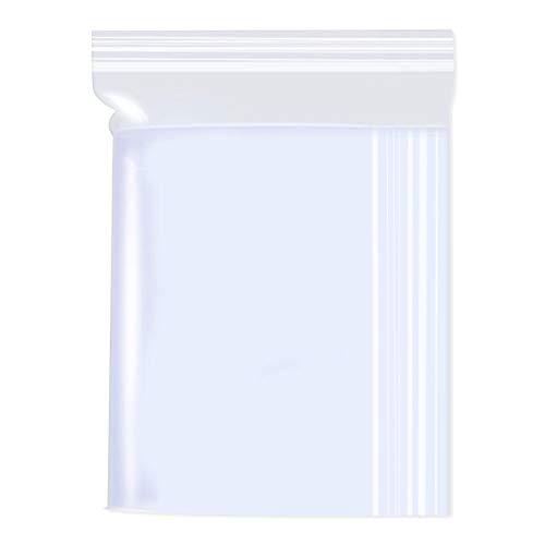 Gudotra 100pz-14x20cm Sacchetti Plastica Trasparenti Risigillabili con Zip Chiusura a Cerniera Riutilizzabile Spesso Bustine per Alimentari (14x20cm, 100 Pezzi)