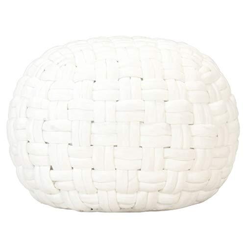 Goliraya Pouf con Motivo a Treccia in Cotone Nero/Bianco/Blu 50x35 cm