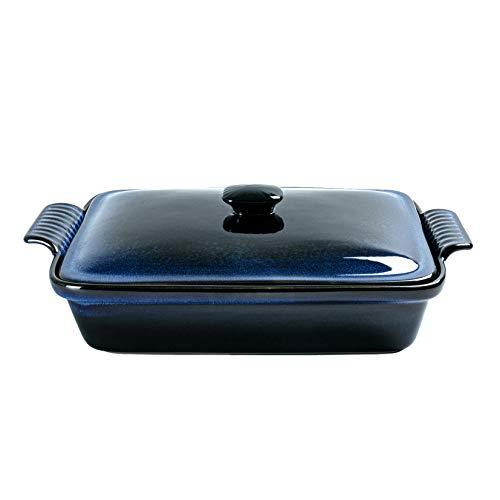Cacerola rectangular con tapa, UNICASA 2600 ml de galón cubierto, esmalte reactivo azul para hornear, apto para microondas