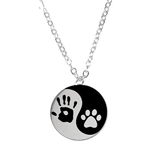 Yin Y Yang Perro Gato Mascota De Acero Inoxidable Collares De Moneda Redonda Colgante Handprint...