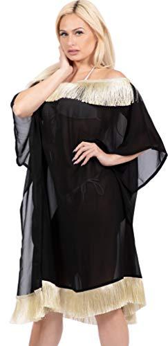LA LEELA Vintage Piratas esqueleto Calabaza Skulls Cráneo Cosplay Disfraces De Fiesta De Halloween encubrimientos kimono lisos para las mujeres del traje de baño Negro_Y411 ES TAMAÑO: 42 (L) - 44 (XL)