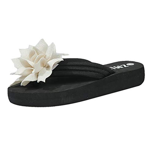 Sylar Zapatillas de Estar por Casa de Lino, Slippers para Verano, Chanclas Flor de tacón Plano, Pantuflas Casa para Hombres y Mujeres Cómoda Fresca