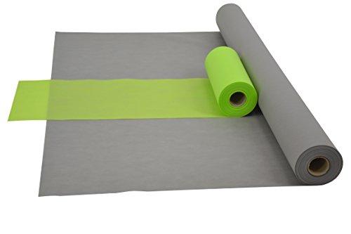 Fachhandel für Vliesstoffe Sensalux Kombi-Set 1 Tischdeckenrolle 1m x 25m + Tischläufer 30cm (Farbe nach Wahl) Rolle grau Tischläufer apfelgrün