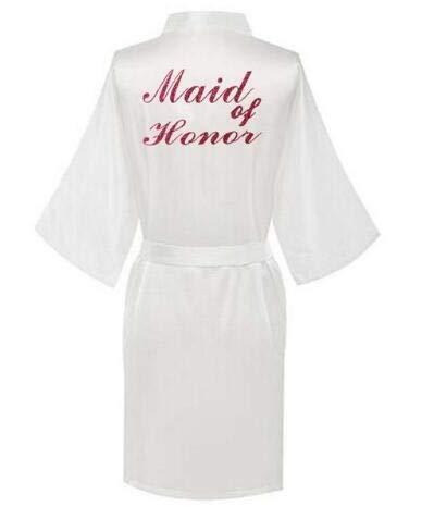 AIYASIWEI Stijlvolle en zachte rode letters Robes.Bride Robes pyjama Badjas Nightgown.Women's Satijn Bruiloft Kimono Slaapmode Maak je klaar Robes (kleur: White Maid of Honor, Maat : XL)