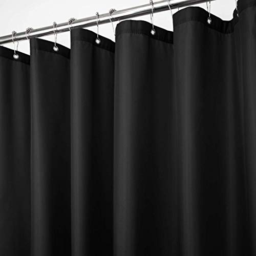 Shower Curtain Vinyl Liner with Metal Grommets Water and Rust Resistant Curtains (Black)