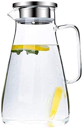 Resistente al calor Jarra de vidrio de la jarra de agua Jarra con tapa con hielo helado y manija Borosilicate Jarra de vidrio resistente al calor para el té / agua caliente y fría / vino de hielo Café