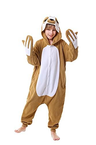CANASOUR Kids Sloth Christmas Onesie for Girls Animal Unisex Pajamas Children (4-10T) (125#(Size 10), Brown Sloth)