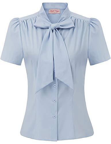 Womens Vintage Light Blue Blouse Short Sleeve Cotton Button Down Shirt Large