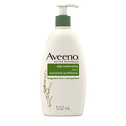 Aveeno Body Lotion with Pump, Active Naturals Daily Moisturizing Unscented Cream for Dry Skin, 532mL