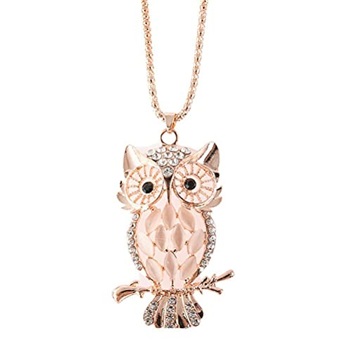 BASOYO Collar de búho de la suerte de metal, collar con colgante de animales con diamantes, joyas para mujeres y niñas