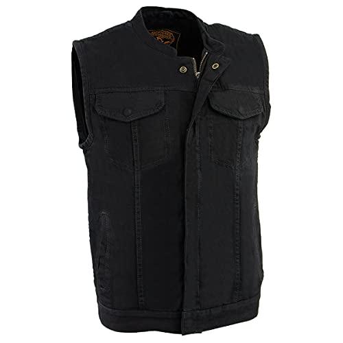 Milwaukee Performance MDM3000 Men's Black Concealed Snap Denim Club Vest with Hidden Zipper - Large