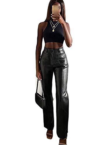 Shuyun Women Faux Leather Pants Solid Color High Waist Straight Wide Leg Leggings Slim Fit Trousers Vintage Streetwear (Black, L)