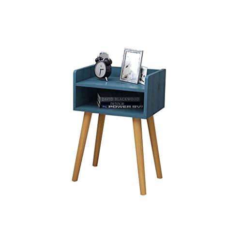 Schlafzimmer-Nachttisch , Nachttisch mit massiven Holzbeinen Zeitgenössische Kommode im Scandi-Stil Beistelltisch für Wohnzimmer Blau 40x30x60cm (größe : 40x30x60cm)