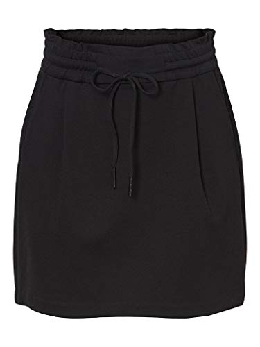 VERO MODA Damen VMEVA MR Short Ruffle Skirt NOOS Rock, Black, S