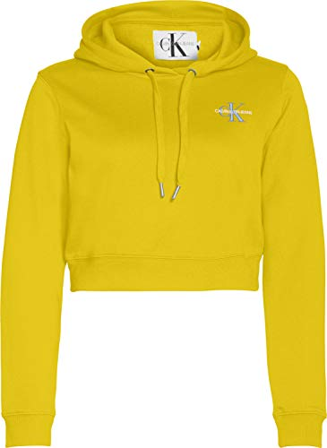 Calvin Klein Jeans Monogram Embroidery Hoodie Suter, Limón, XS para Mujer