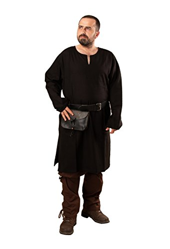 Odin Medieval Viking LARP Pirate Cotton Mens Shirt Tunic-Made in Turkey Black-2XL