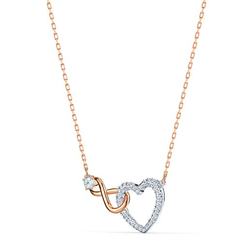 Swarovski Infinity Heart Necklace, Finely Cut Swarvski Crystals in White with a Rose-gold Coloured Mixed Metal Finished Chain