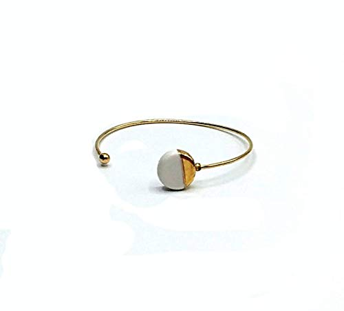 Brazalete de plata de ley, Brazalete de cerámica, pulsera ajustable, Brazalete blanco y oro, Brazalete minimalista, Brazalete para mujer.