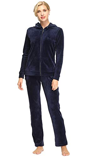 Dolcevida Women's Active Solid Velour Tracksuit Zip up Hoodie & Pullover...