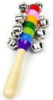 لعبة الاطفال الخشخيشة المكونة من 3 قطع بنمط قوس قزح، عصا من الخشب ومعدن بيل تصدر خشخشة عند الاهتزاز، مناسبة كهدية للاطفال