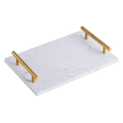 StonePlus Natural Rectangular Marble Tray with Gold Metal Handles for Kitchen, Bathroom, Coffeeshop (Venato Carrara, 11.8Lx7.87W)