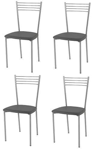 Tommychairs - Set de 4 sillas Design Elena Cocina, Comedor, Bar y Restaurante, con Estructura en Acero Pintado Aluminio y Asiento tapizado en Polipiel Color Gris Oscuro