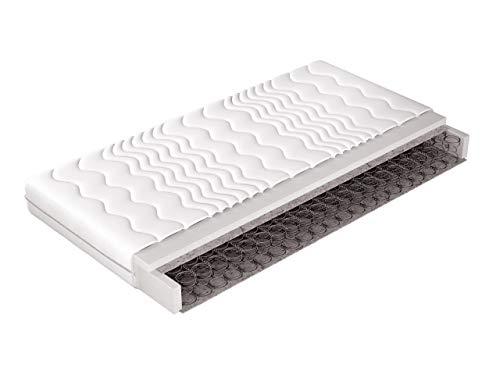Matratze Leno mit Klimafäden gesteppt, Bonellfederkern Matratze, Bezug waschbar, Resistent gegenüber Pilzbildung, Antiallergische Eigenschaften (140x200)