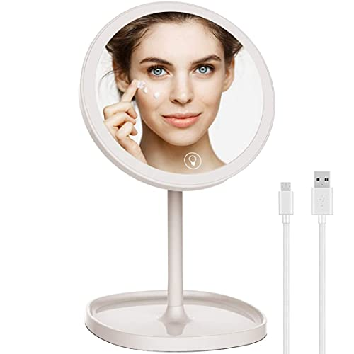 RiverLux LED Lighted Makeup Mirror,Circle Mirror with Light,Battery Operated Makeup Mirror,Ring Light Makeup Mirror,Travel Vanity Mirror,Portable Vanity Mirror with Light,USB Charging,Gift Ideas