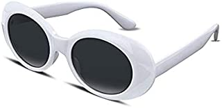 Clout Goggles and Clout Case HypeBeast Oval Sunglasses Mod Style Kurt Cobain White