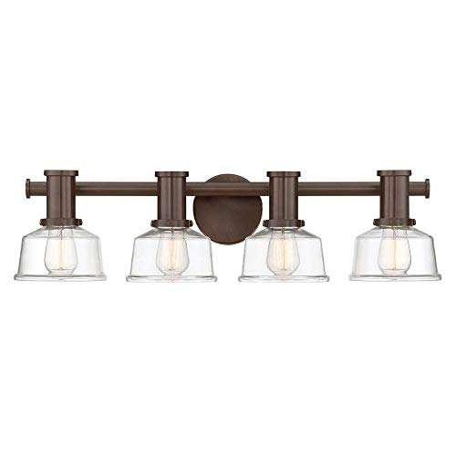 Designers Fountain 96504-SCB Carson - Four Light Wall Sconce, Satin Copper Bronze Finish with Clear Glass