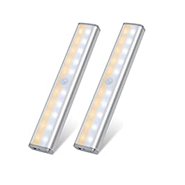 Lixada Lot de 2 lumières à détecteur de Mouvement USB Rechargeables 20 LED Éclairage pour Armoire magnétique Amovible…