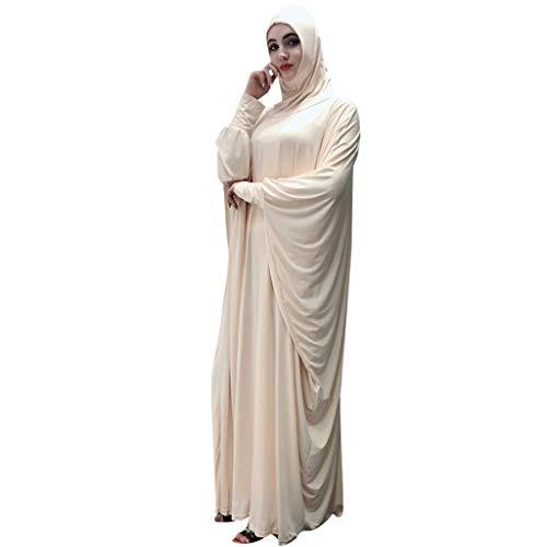 Lazzboy Muslim Frauen Einfarbig Kopfbedeckungen Moschee Fledermaus ärmel Strickjacke Ramadan Kleid Ethnische Roben Damen Sommer Muslimische Kleider Spitze Getrimmt Vorne Abaya Maxi Kaftan(Beige)