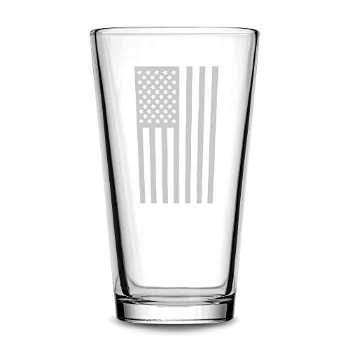 Integrity Bottles Premium Vertical American Flag Pint Glass, Hand Etched Old Glory 15.25oz Beer Glass, Made in USA, Highball Gifts, Sand Carved