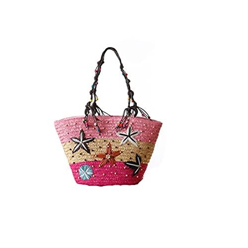 A+TTXH+L Bolsa Playa Paja Moda Mano Tejida Bolsa de Paja Verano mar Estrella ratán Bolsas de Playa Gran Capacidad Bolsa de Hombro Bolsos Bolsos para Mujeres Damas (Color : Pink)