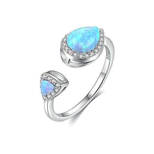 Beydodo Anillos Compromiso Mujer Plata 925,Anillo Mujer Azul Gota de Agua con Triángulo Ópalo Azul