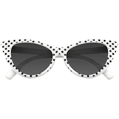 Polka Dot Occhiali Womens Fashion Mod Super Cat (Bianco)