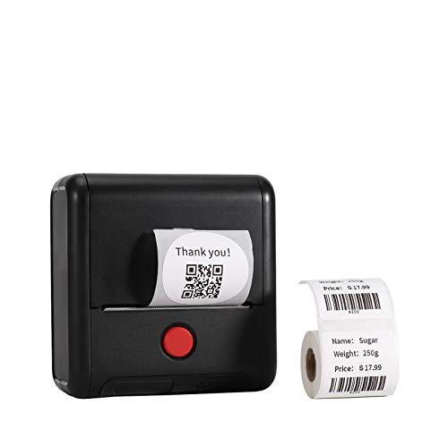 Etikettendrucker - 80mm Druck Bluetooth Thermoetikettendrucker Drahtlose M200 Etikettiermaschinen für kleine Unternehmen, Einzelhandel, Barcode, Versand und mehr, für Android und iOS - Schwarz