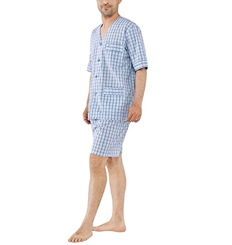 El Búho Nocturno - Pijama Hombre Corto Judo Popelín Cuadros Azulón 60% algodón 40% poliéster Talla 9 (5XL)